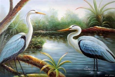Great Blue Heron Egret Pair Swamp Bird Wetlands Shore
