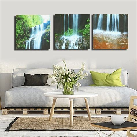 3 Cascade Large Waterfall Framed Print Painting Canvas