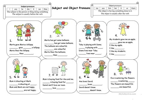 newest free subject and object pronoun worksheets