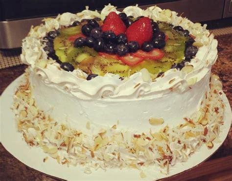 baked chinese sponge cake sponge cake  fresh fruits