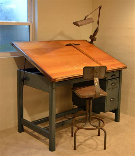 Wooden Folding Chairs Ikea by Vintage Industrial Tilt Top Drafting Desk Drawing By