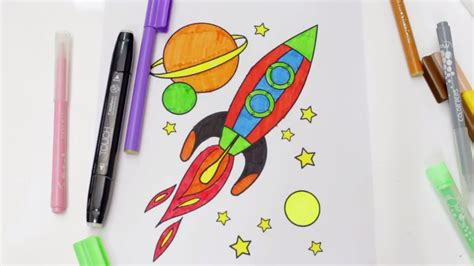 draw  color  rocket ship  kids rocket coloring pages  kids youtube