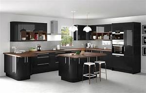 Cuisine equipee noir laque chaioscom for Idee deco cuisine avec cuisine equipee noir laque pas cher