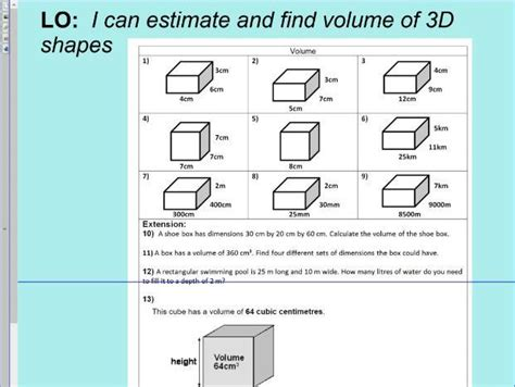 volume of 3d shapes cube cuboid ks2 year 5 6