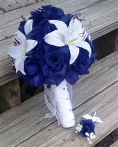 navy blue corsage royal blue white wedding bouquet with boutonniere