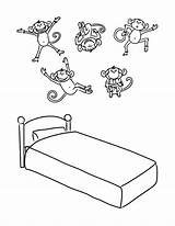 Monkeys Bed Coloring Jumping Printable Five Cama Drawing Macaquinhos Saltando Lit Transparent Crayons Disegni Coloriages Colorir Desenho Monkey Objets Coloriage sketch template
