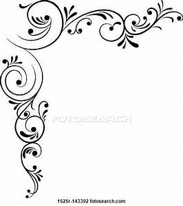 Clip Art of Element for design, corner flower, vector ...