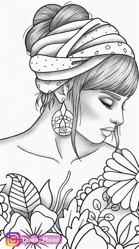 adult coloring page girl portrait  clothes colouring sheet fashion  printable anti stress