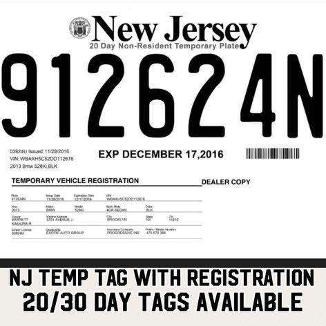 temporary tag template nj temp tags cars trucks in south hackensack nj