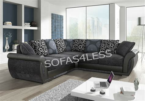 Sofas For Sale by New Shannon Leather Fabric Corner Sofa Black Grey