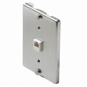 Steren 1 Gang Wall Phone Jack- Steel-st-300-095