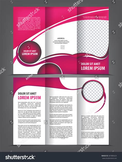 trifold design template empty vector empty trifold brochure template print blank violet