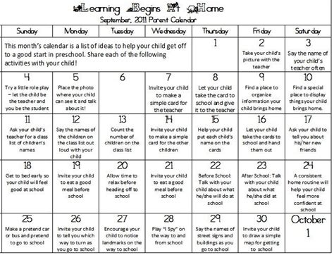 september calendar for preschool parents teach preschool 945 | September 2011