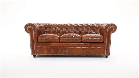 canapé chesterfield 3 places cuir marron capitonné vintage