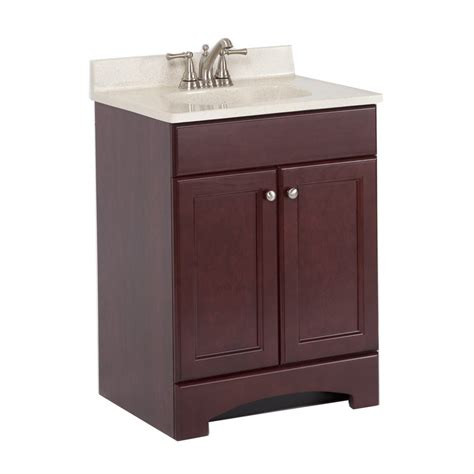 shop style selections 24 5 in x 18 6 in cherry integral single sink bathroom vanity with