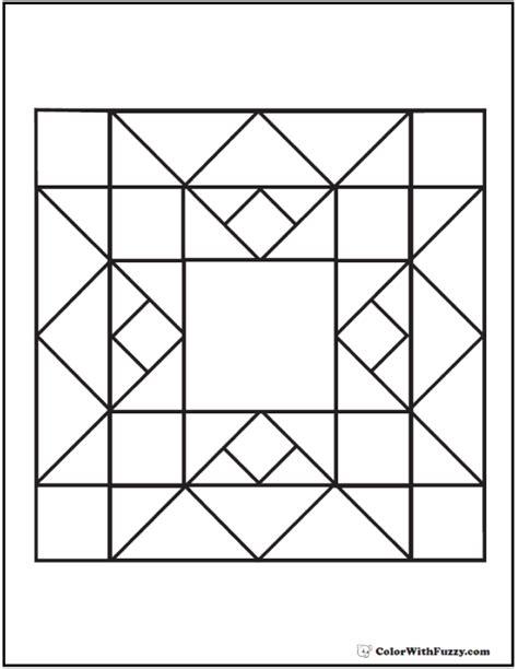 quilt pattern coloring page flame diamond squares