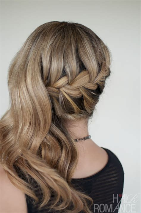 romantic side swept french braid hairstyle holiday