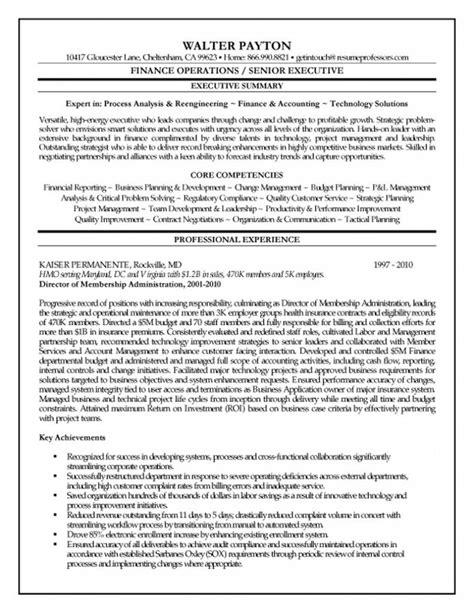 executive summary resume resume sles