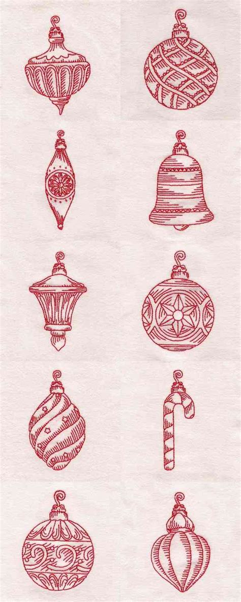 redwork christmas ornaments machine embroidery designs ebay