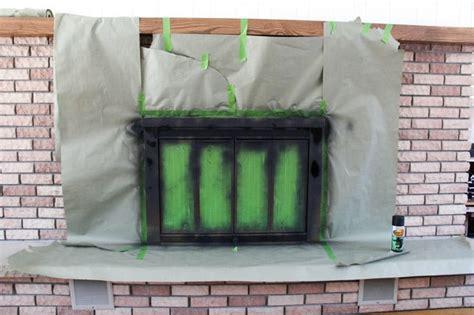 Fireplace Door Paint - how to spray paint a brass fireplace bright green door
