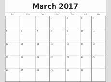 Blank Monthly Calendar 2017 calendar template excel