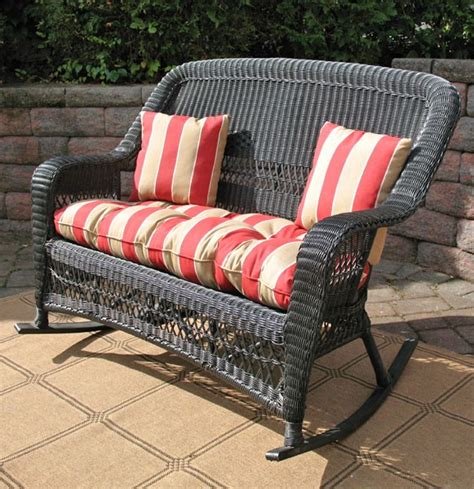 belair resin wicker rocking loveseat with cushion