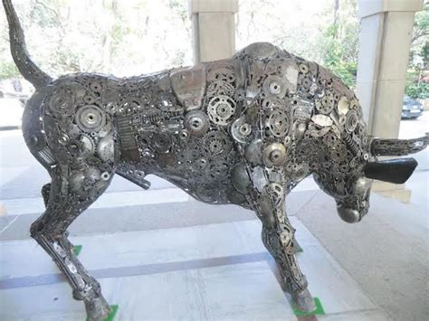 Bull Figure Statue Replica Life Size Scrap Metal Art For