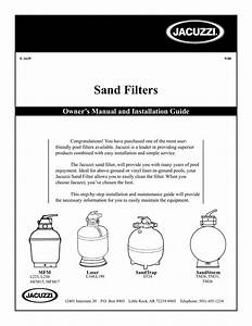 Jacuzzi Sand Filter Owner   Installation Manual
