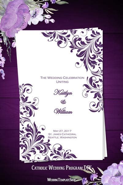 catholic church wedding program kaitlyn purple wedding