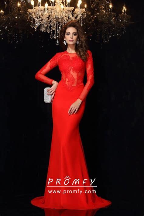bright red long sleeves mermaid designer prom dress promfy