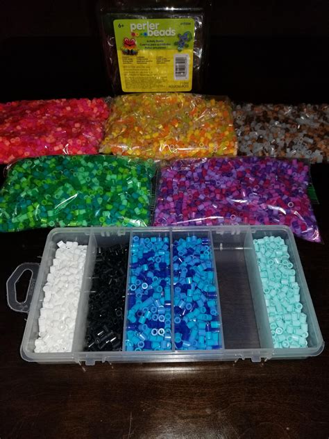 organizing bucket  mixed perler beads  color family