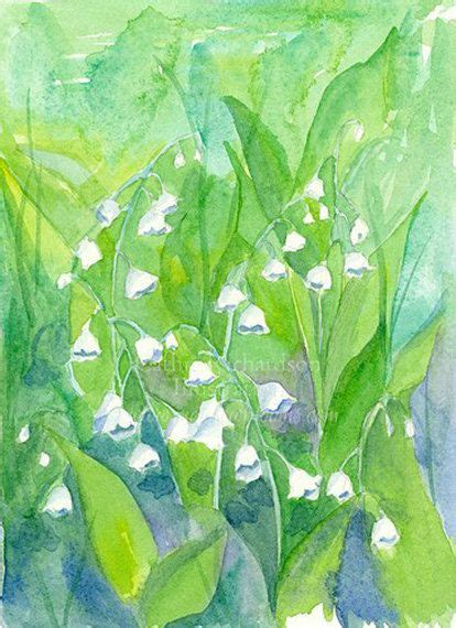 lily   valley original watercolor painting