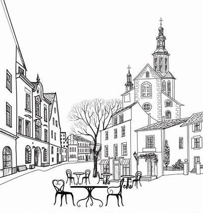 Coloring Street Cafe Illustration Landscape Buildings Cityscape