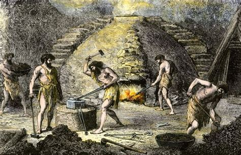 early iron workers replacing stone age technology