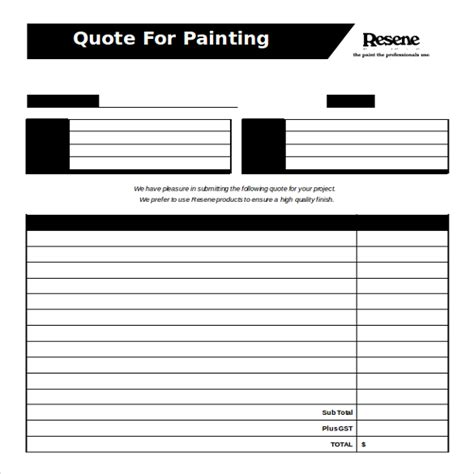 Painting Quotes Templates