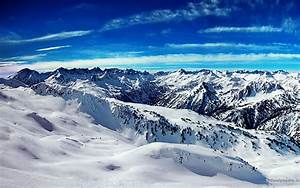 Beautiful scene of snow on the mountains and blue sky is a ...