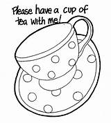 Tea Coloring Cup Pages Teapot Party Coffee Mug Cups Printable Template Drawing Presley Elvis Sheets Colouring Teapots Saucer Boston Adult sketch template