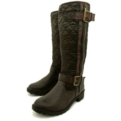 womens brown leather biker boots womens brown quilted leather style buckled shearling lined