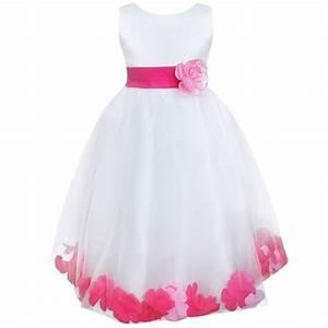 efe filles princess robe d39ete petales soiree fleur With robe blanche fille 12 ans