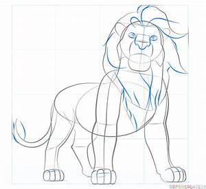 How to draw Simba from Lion King | Step by step Drawing ...