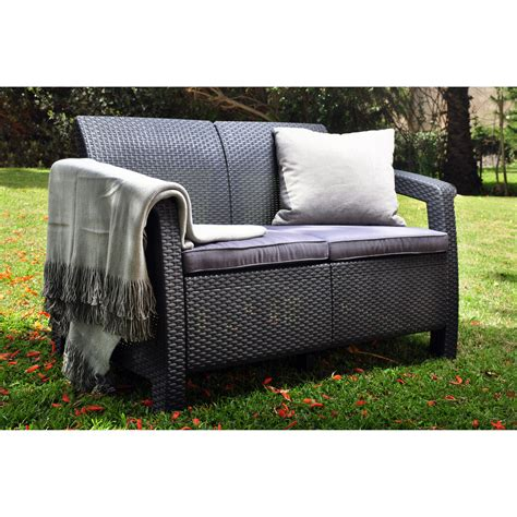 Outdoor Sofas And Loveseats by Keter Corfu Outdoor Loveseat Grey Outdoor Sofas