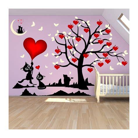 stickers muraux chambre bébé fille stickers chambre fille arbre et chats où les coeurs