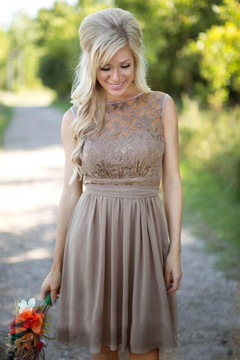 short chiffon bridesmaid dresses lace top  sash