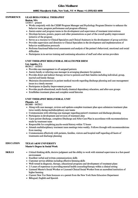 Therapist Resumes by Behavioral Therapist Resume Bijeefopijburg Nl