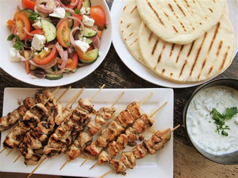chicken dinners chicken souvlaki  tzatziki sauce