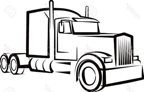 Semi Truck Clipart Semi Truck Outline Drawing Simple Illustration With A