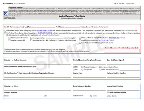 dot forms and cards cdl medical certification doctors medical form templates