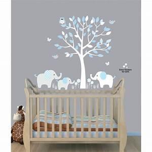 Baby nursery decor elephants below beautiful tree