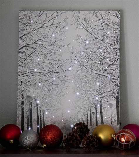 canvas lighted sparkling snowy winter wall