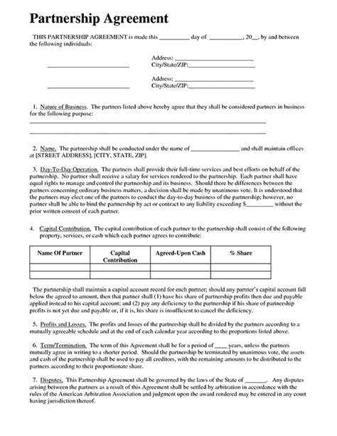 simple partnership agreement template free business partnership agreement form sle forms